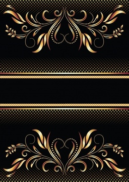 decorative background elegant yellow black symmetric curves ornament