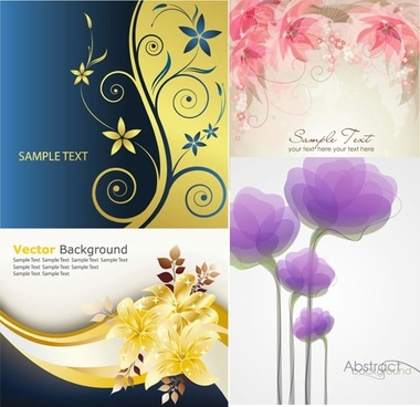 flower backgrounds elegant colorful curves blurred decor