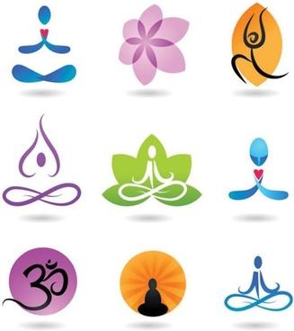 yoga logotypes colored flora person gestures sketch
