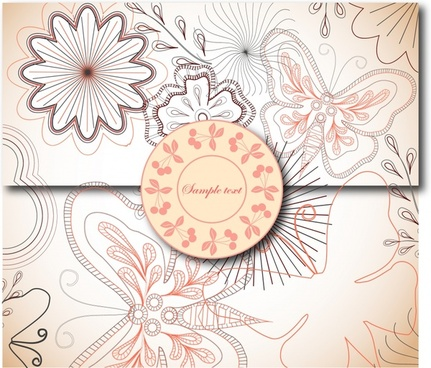 seal envelope template elegant handdrawn flora butterfly decor