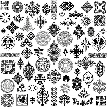 pattern design elements black white retro symmetric seamless