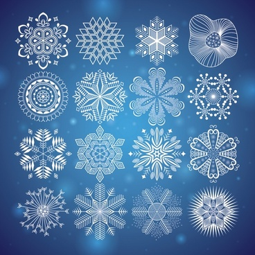 snowflakes icons templates classical symmetrical flat shapes sketch