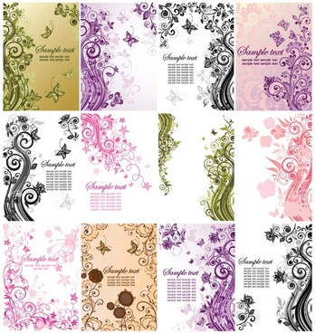 decorative background templates elegant retro floral curves sketch