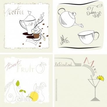 beverage decor background classic flat handdrawn sketch