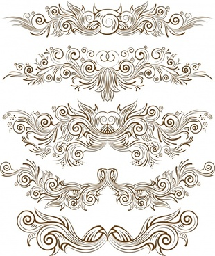 decorative elements elegant symmetric curves shapes