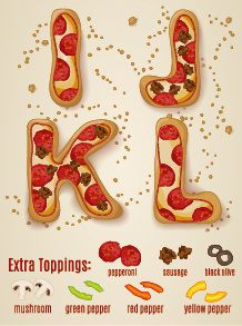 exquisite pizza alphabet design vector