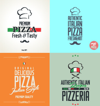 exquisite pizza logos design vector