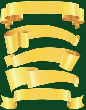 decorative ribbon templates shiny yellow curled 3d
