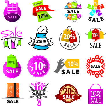 exquisite sale logos vector set