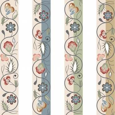 decorative pattern templates elegant colorful classic botany sketch