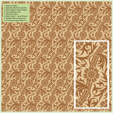 decorative pattern flat classic seamless repeating floral leaves decor
