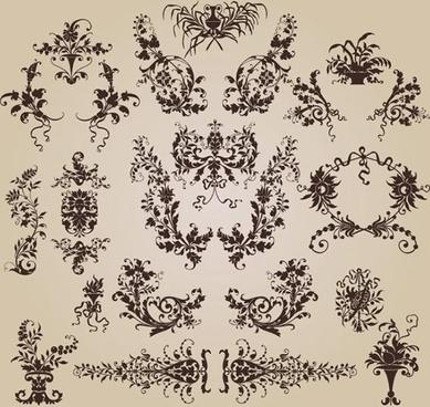 decorative elements collection flowers sketch elegant retro symmetric