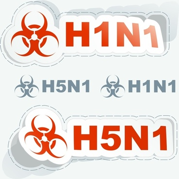 disease warning sticker templates modern paper cut shapes