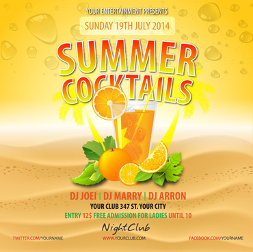 exquisite summer cocktails posters vector