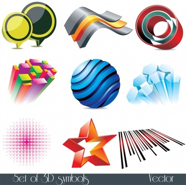 logo templates colorful modern 3d shapes