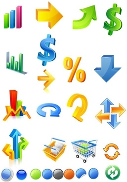 business icons colorful 3d chart arrow currency sketch