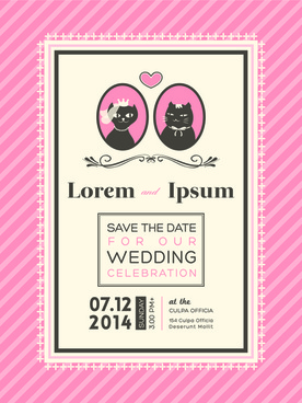 exquisite vector wedding invitation cards set