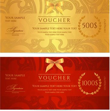 exquisite vouchers template design vector set