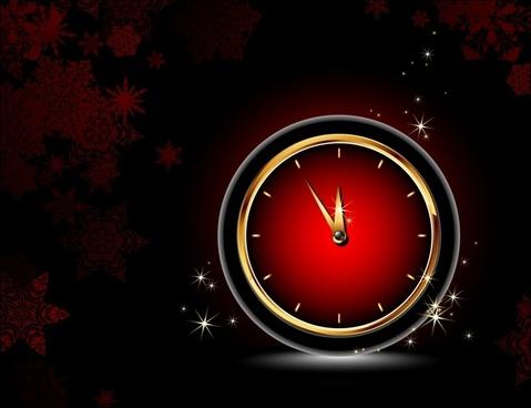 christmas background snowflakes clock decor shiny dark red