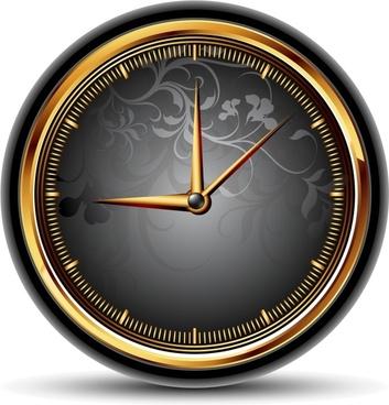 vintage clock icon shiny elegant black golden decor