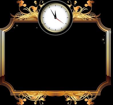 clock frame template luxury elegant shiny golden black