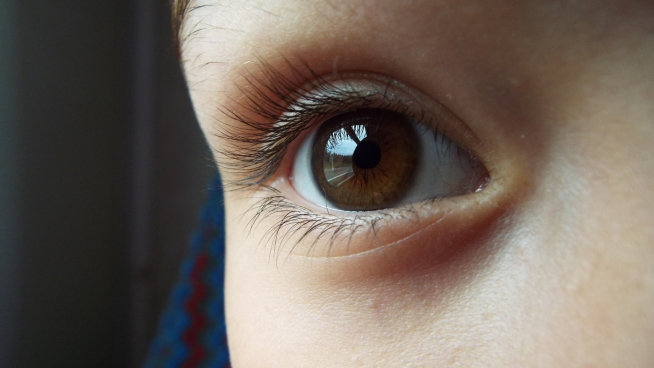 closeup of innocent kids eye