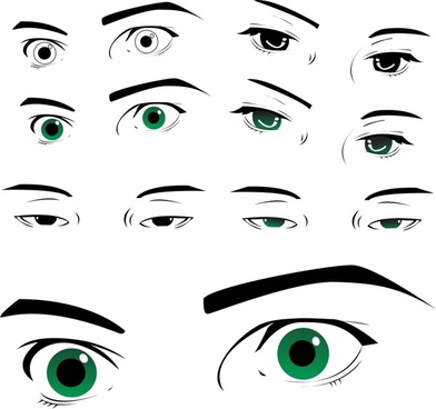 eyes icons black white cartoon sketch