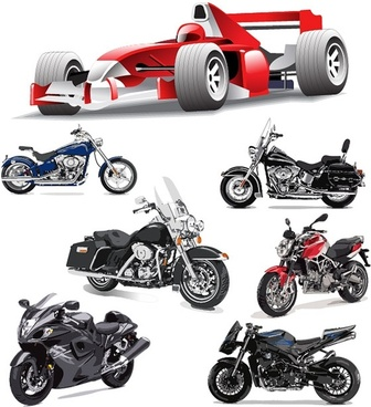 f1 formula one racing and motorcycle vector