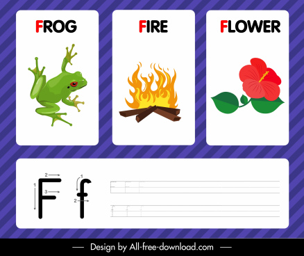 f alphabet study template frog fire flower icons
