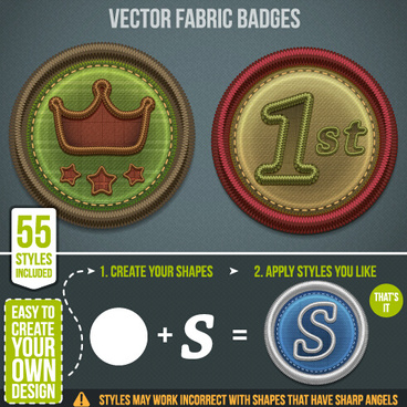 fabric badges vector graphics