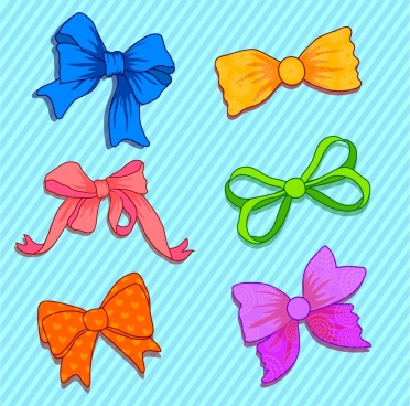 fabric bows icons colorful handdrawn types isolation