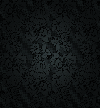 fabric of floral patterns design vector set