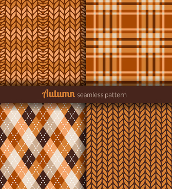 Seamless patterns with fabric texture free vector download