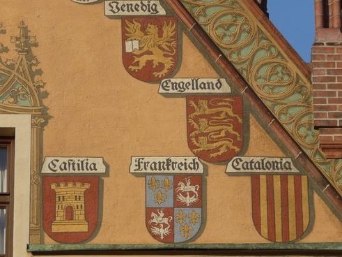 facade building coat of arms
