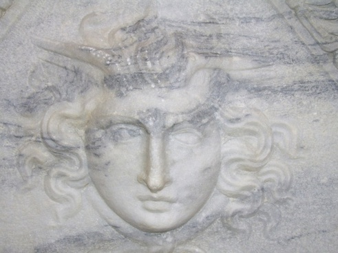 face relief in marble