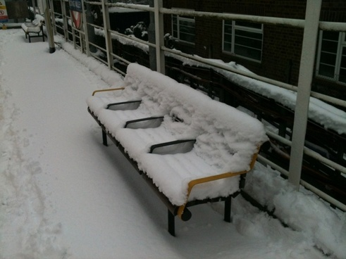 faces on a snowcovered bench