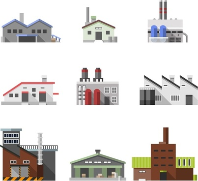 factory and warehouse sets illustration in sketch design