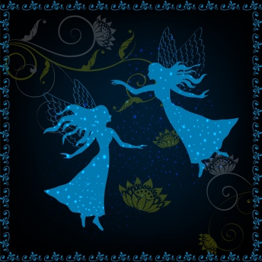fairy background blue silhouette design women flowers decor