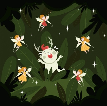 fairy background cute cartoon characters decor