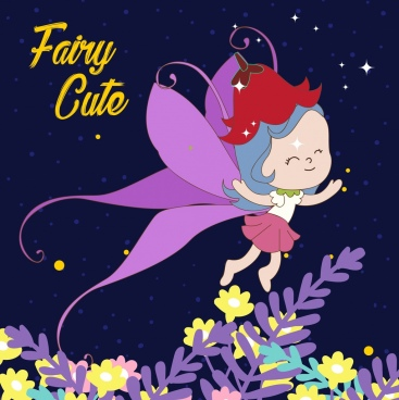 fairy background cute girl icon cartoon character