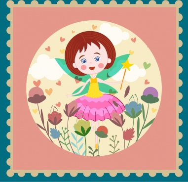 fairy background cute girl icon classical design