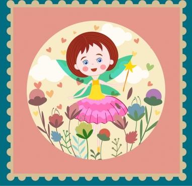 fairy background cute girl icon classical design