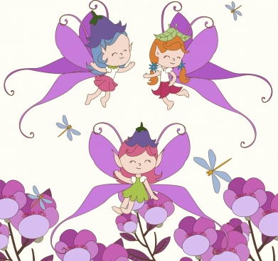 fairy background cute girls flowers icons cartoon design