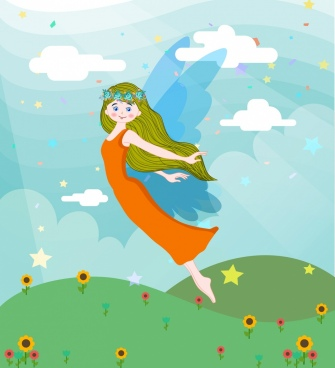 fairy background cute winged girl colored cartoon design