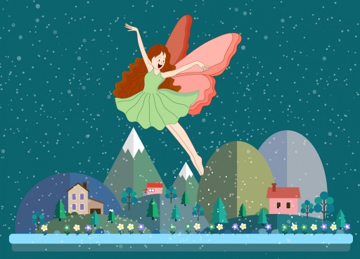 fairy background flying winged girl icon colored cartoon