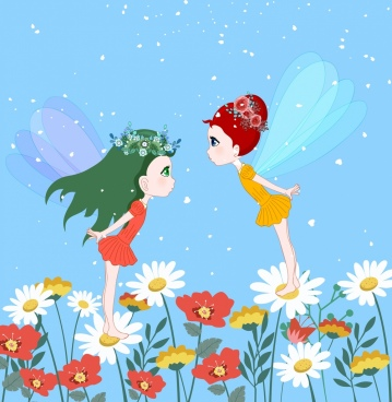 fairy background winged girls flowers icons cartoon design