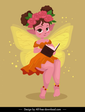 fairy character icon cute little winged girl sketch