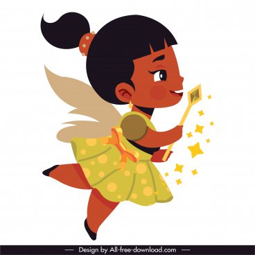 fairy character icon cute small winged girl sketch
