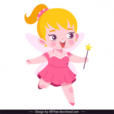 fairy character icon lovely girl sketch cartoon design