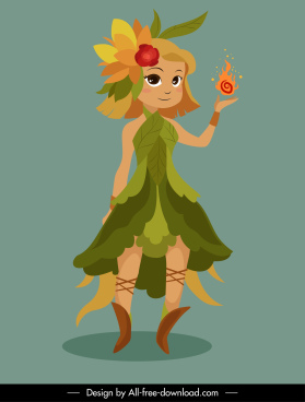 fairy character icon magic girl sketch cartoon design